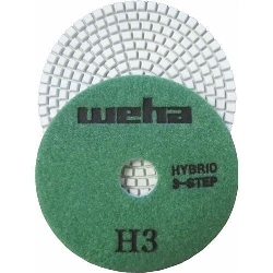 "Part#  13349 4"" Weha 3 STEP Hybrid Step 3 Diamond Polishing Pad Granite Marble Engineered Stone"