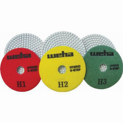 Part#  13350SET Weha 3 step hybrid diamond polishing pads set 4 inch
