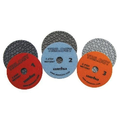 "Black Silestone, Brown Quartz, Gray Engineered Stone, Weha 4"" Trilogy Diamond Polishing Pads Wet/Dry Set of 3 13360SET"