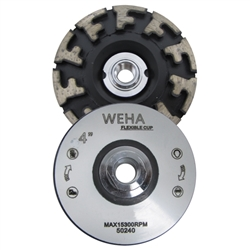 "Part#  50240 Weha 4"" Aggressor Cupwheel Coarse Flexible Silent Flat Rubber"