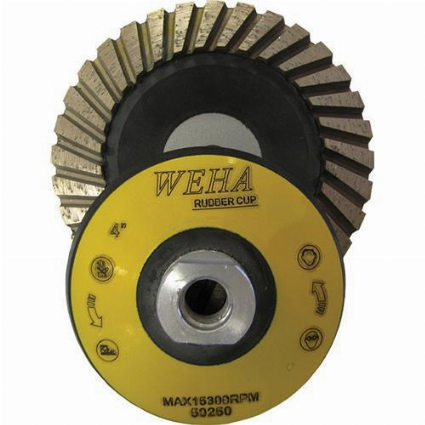 "Part#  50250 Weha 4"" Rubber Turbo Diamond Cup wheel - Coarse grit"