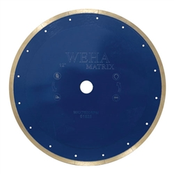 "Part#  51525 Weha Matrix 12"" x 1"" Arbor Diamond Continuous Rim Reinforced Core Blade Blue"