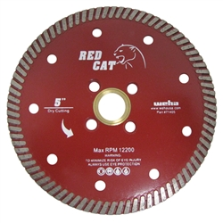 "Quartz Turbo Blade, Diamond Granite Turbo Blade, 5"" Red Cat Turbo Blade #71405"